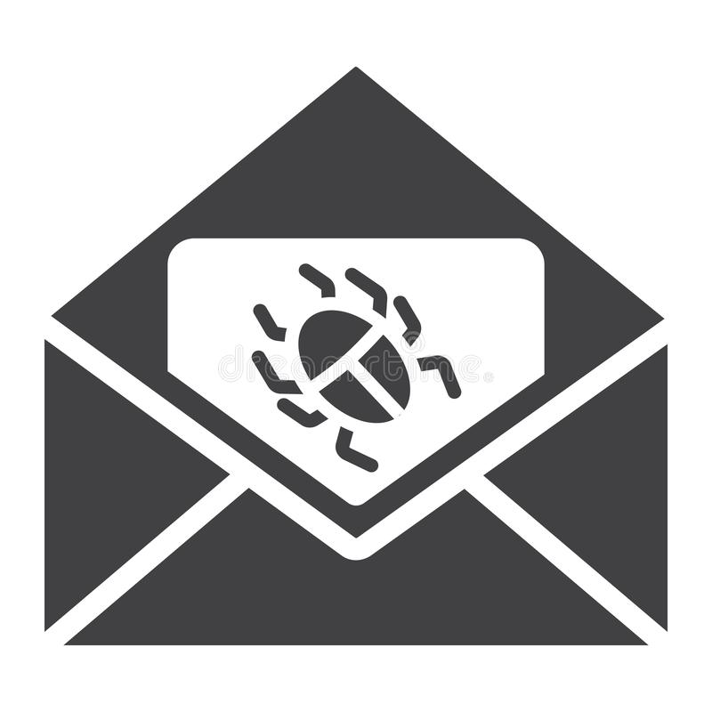 Virus in email solid icon, spam and security stock illustration