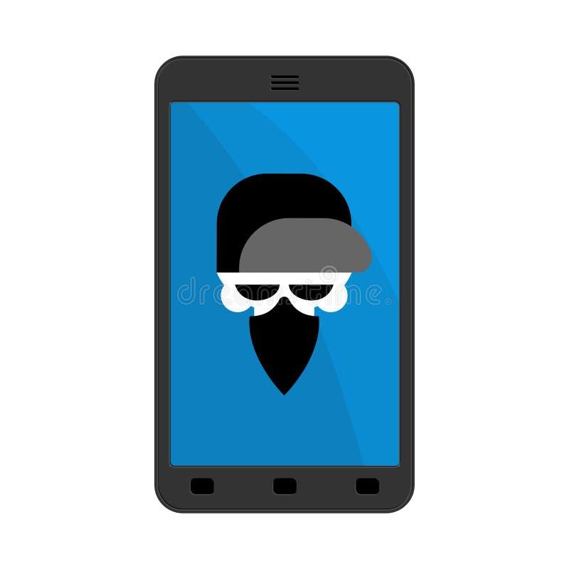 Virus en smartphone Cráneo del pirata informático Jefe del esqueleto en bufanda stock de ilustración