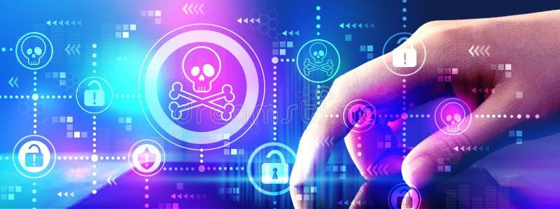 Virus en zwendelthema met tabletcomputer royalty-vrije stock fotografie