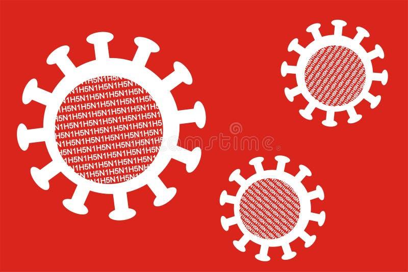 virus för influensapartikel tre vektor illustrationer