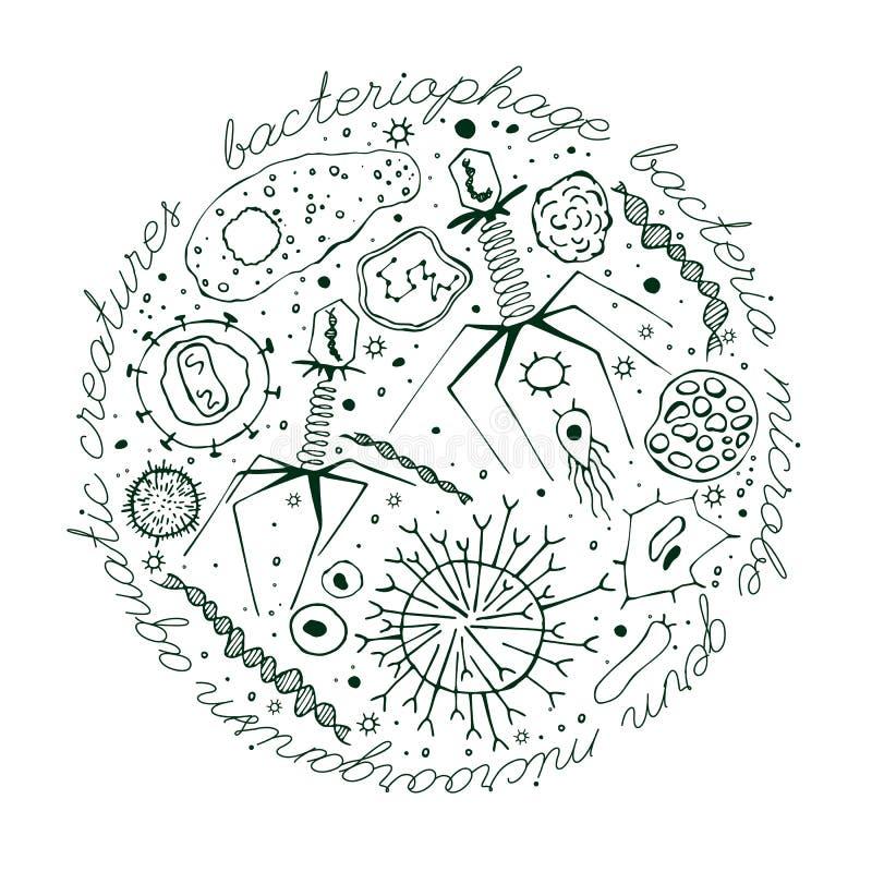 Virus hand-dragen bild royaltyfri illustrationer