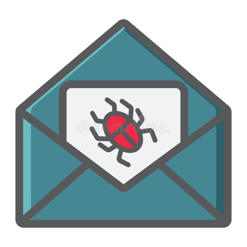 Virus i den färgrika linjen symbol, skräppost för email royaltyfri illustrationer