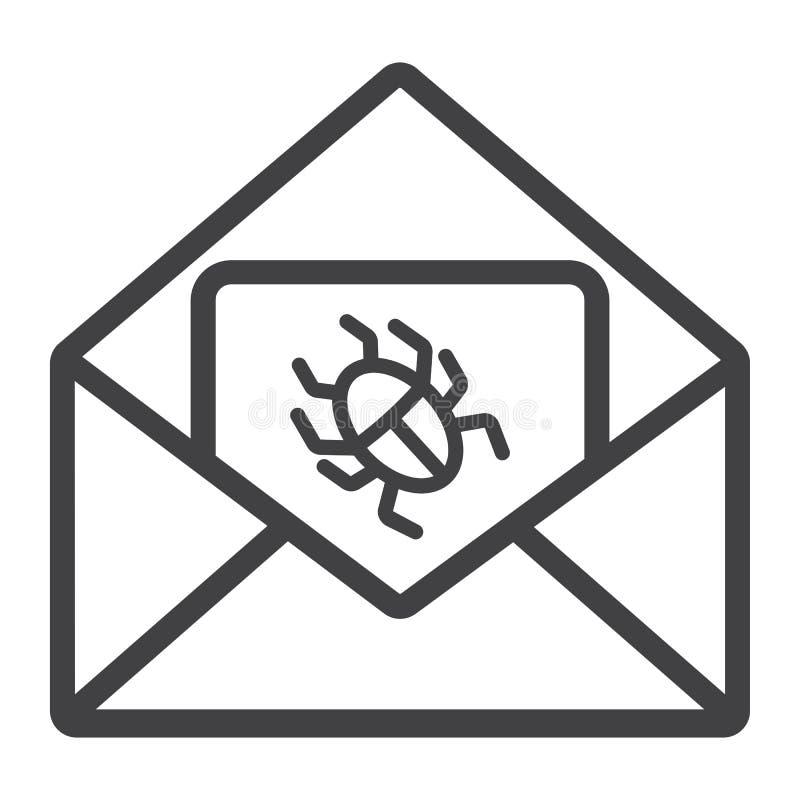 Virus i emaillinjen symbol, skräppost och säkerhet royaltyfri illustrationer