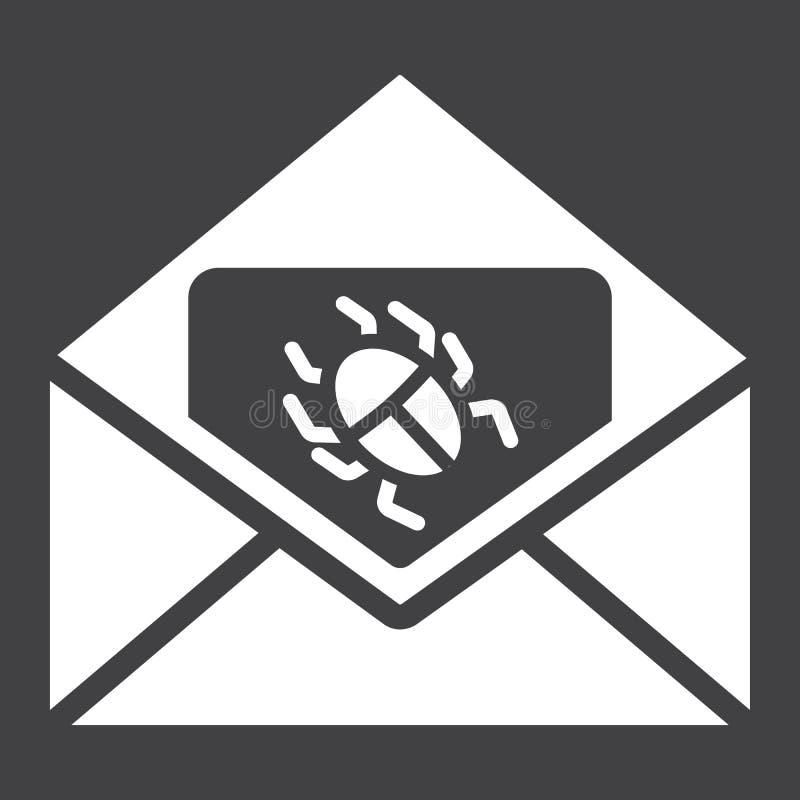 Virus i fast symbol, skräppost och säkerhet för email royaltyfri illustrationer