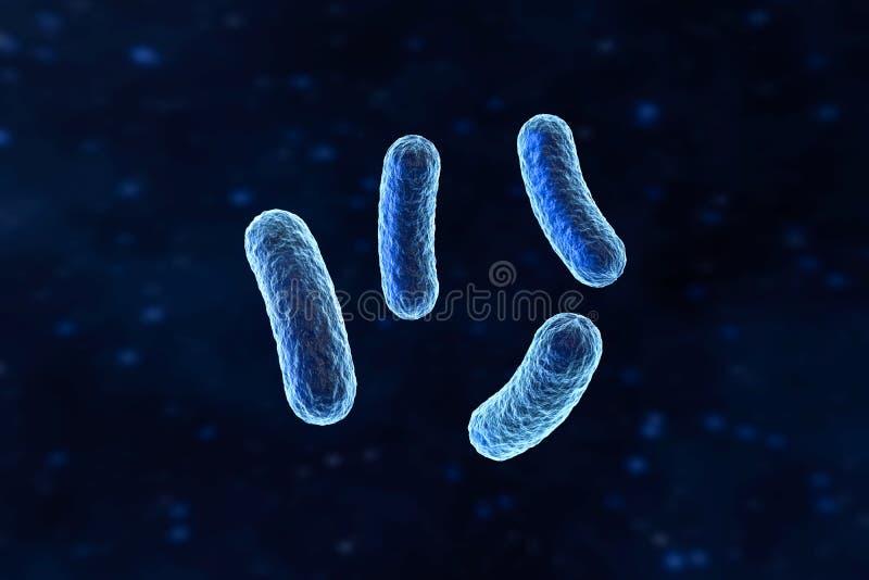 Virus infeccioso con los detalles superficiales en el fondo azul, representación 3d stock de ilustración