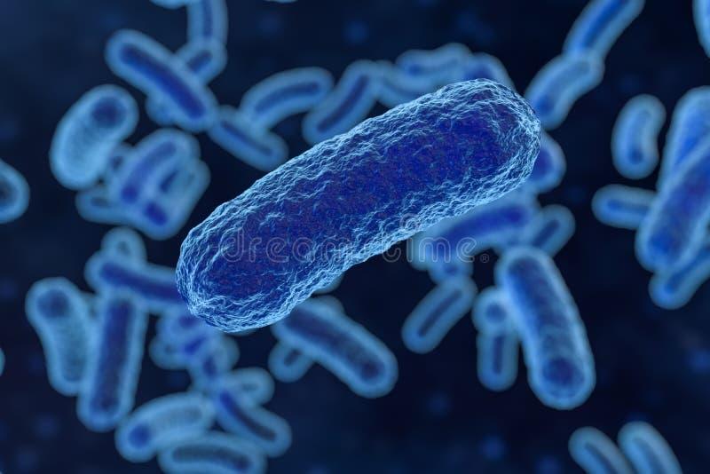 Virus infeccioso con los detalles superficiales en el fondo azul, representaci?n 3d libre illustration
