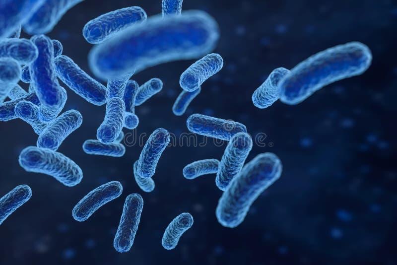 Virus infeccioso con los detalles superficiales en el fondo azul, representaci?n 3d ilustración del vector
