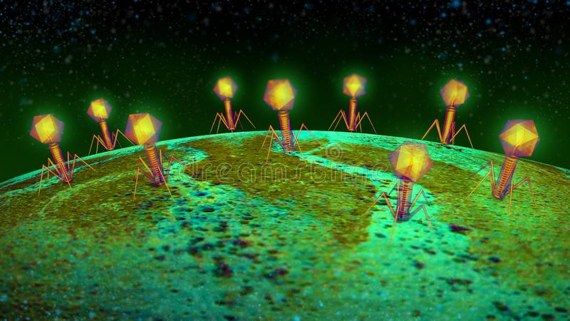 Virus influensa, sikt av en virus under ett mikroskop, smittsam sjukdom stock illustrationer