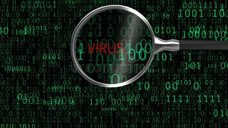 Virus-Malware unter digitaler Vergrößerung, Anti-Virus findet bösartige App lizenzfreie abbildung
