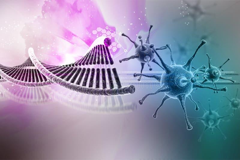 Virus met DNA-structuur stock illustratie