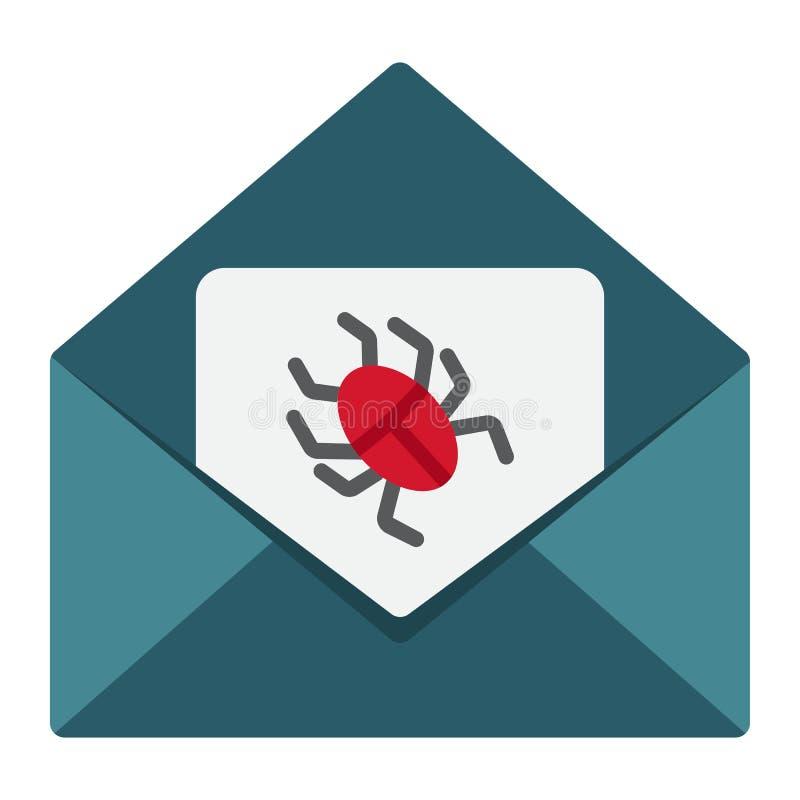 Virus nell'icona, nello Spam e nella sicurezza piani del email illustrazione di stock