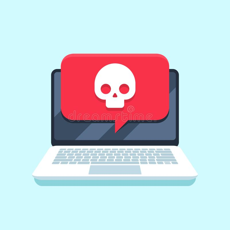 Virus notification on notebook screen. Malware attack laptop pc, computer viruses or hacking secure vector concept royalty free illustration