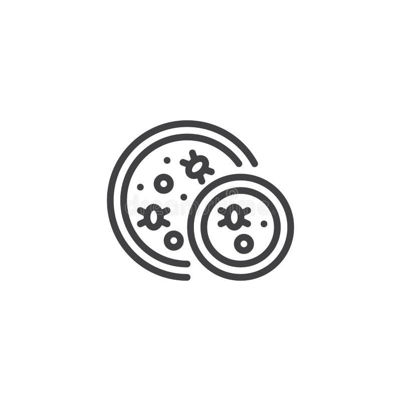 Virus och bakterier i en petri maträtt skisserar symbolen stock illustrationer