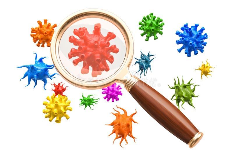 Virus och bakterier under förstoringsglaset, tolkning 3D royaltyfri illustrationer