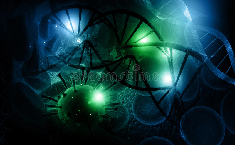 Virus och DNA royaltyfri illustrationer
