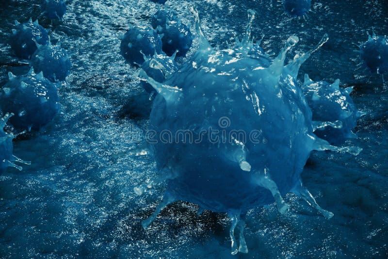 virus patógenos del ejemplo 3D que causan la infección en organismo del anfitrión Epidemia viral de la enfermedad Fondo abstracto stock de ilustración