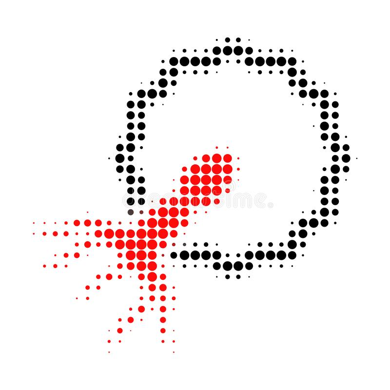 Virus Penetrating Cell Halftone Dotted Icon. Halftone pattern contains circle pixels. Vector illustration of virus penetrating cell icon on a white background stock illustration