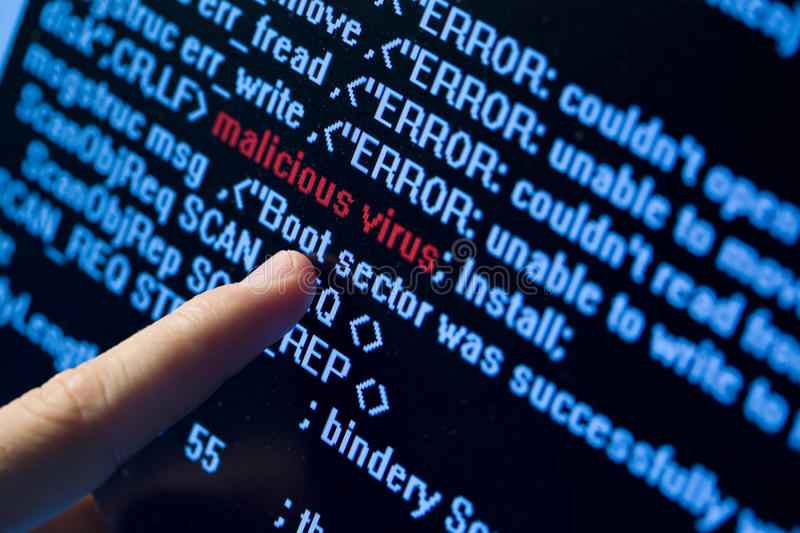 Virus in program code. Computer security concept. Virus in program code stock photo