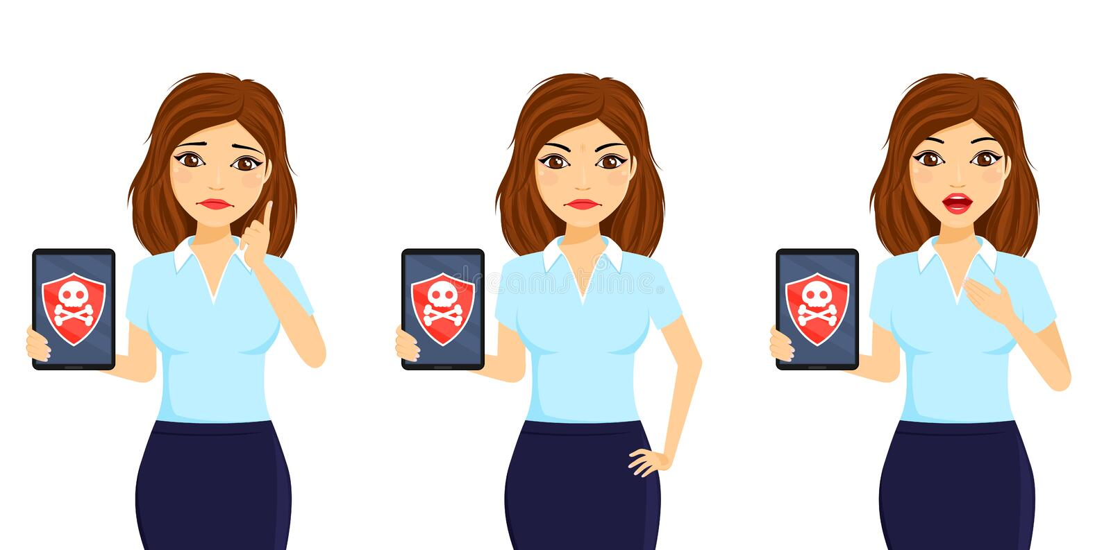 Virus protection. A girl with a tablet in her hand. Vulnerability to viruses and malware. Business and Finance. Flat style on white background. Cartoon stock images