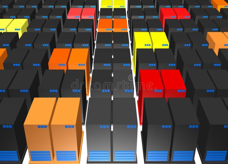 Virus répandant les serveurs de base de données altérés illustration stock