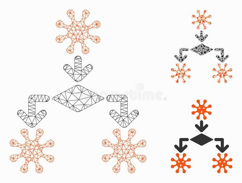 Virus Reproduction Vector Mesh Network Model en Triangle Mosaic Icon royalty-vrije illustratie
