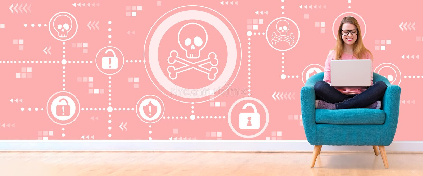 Virus and scam theme with woman using a laptop. Virus and scam theme with young woman using her laptop in a chair vector illustration