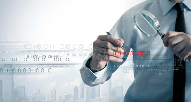 Virus search. Businessman search the virus in a binary code royalty free stock photo