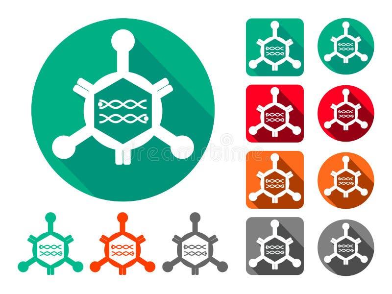 Virus, segno, icona, symboll Con materiale genetico nel centro illustrazione vettoriale