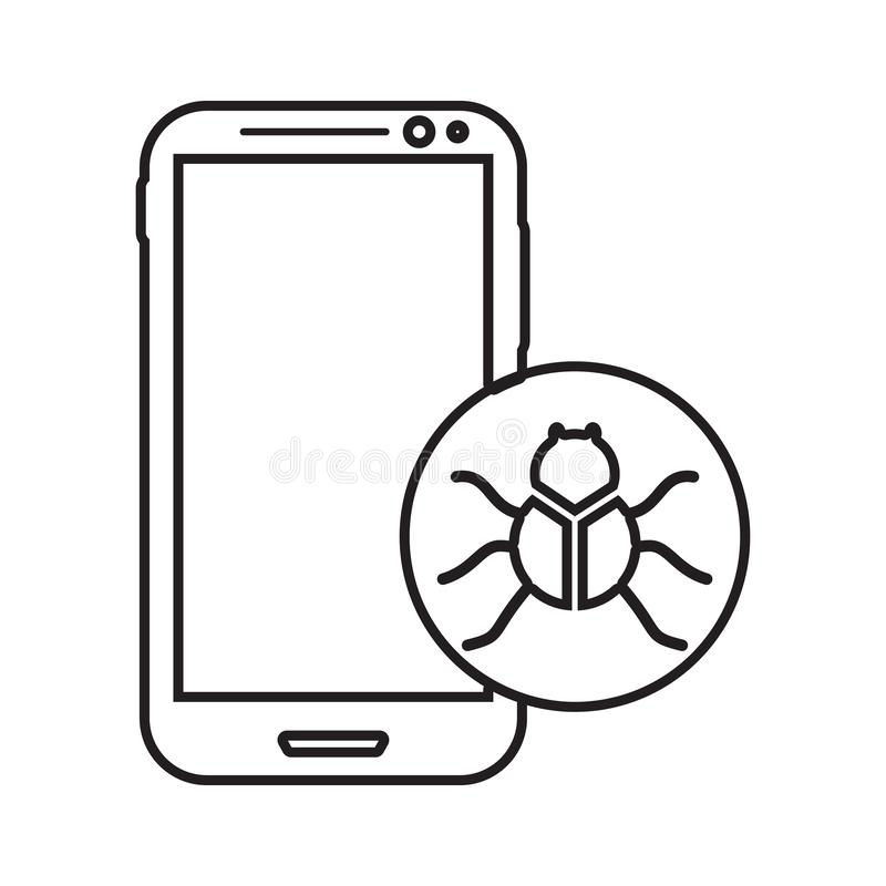 Virus in smart phone icon. Element of cyber security for mobile concept and web apps icon. Thin line icon for website design and. Development, app development royalty free illustration