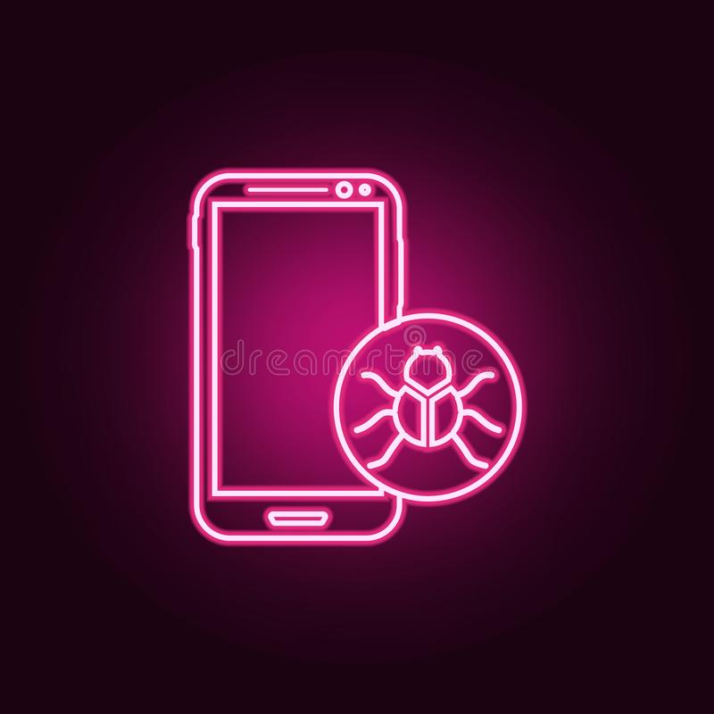 Virus in smart phone icon. Elements of cyber security in neon style icons. Simple icon for websites, web design, mobile app, info. Graphics on dark gradient vector illustration