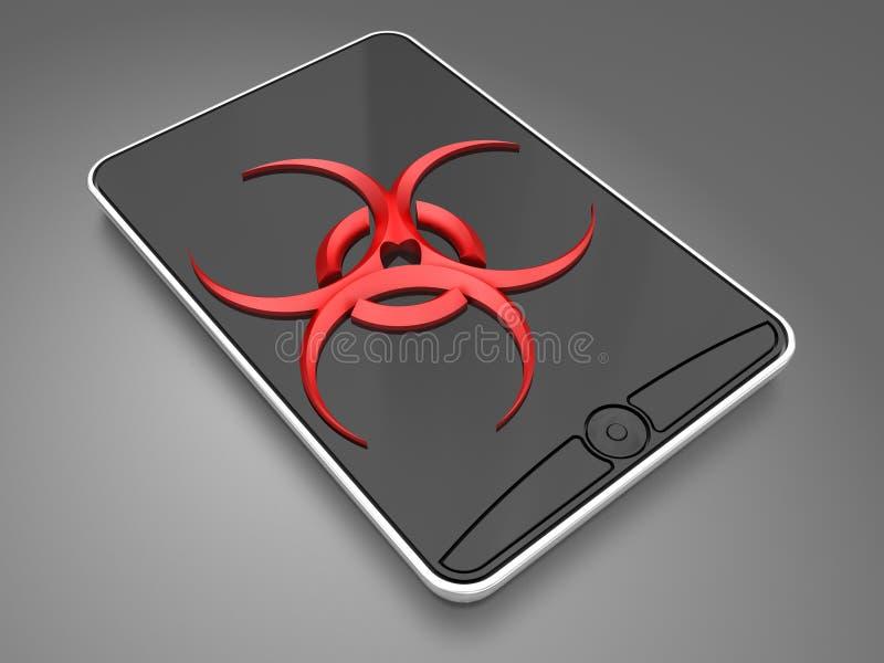 Virus in smartphone royalty-vrije stock afbeeldingen