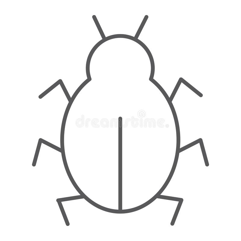 Virus thin line icon, security and internet, computer bug sign, vector graphics, a linear pattern on a white background. stock illustration