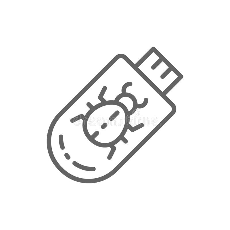 Virus troyano en la l?nea icono de memoria USB libre illustration