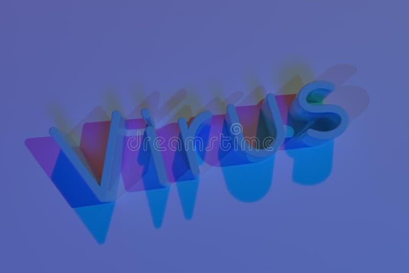 Virus, typografie, CGI, sleutelwoorden voor ontwerptextuur, achtergrond het 3d teruggeven royalty-vrije illustratie