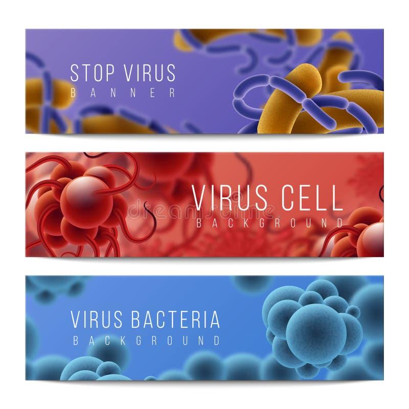 Virus- und Bakterienfahnen Mikroben Infektion und der Gegenstände, des Fiebers und der Grippe der Mikrobiologie 3D horizontale Fa lizenzfreie abbildung