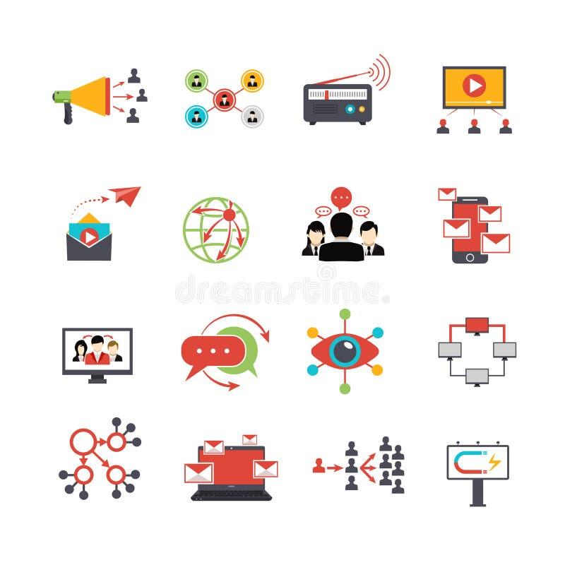 Virus- uppsättning för symboler för marknadsföringstekniklägenhet royaltyfri illustrationer