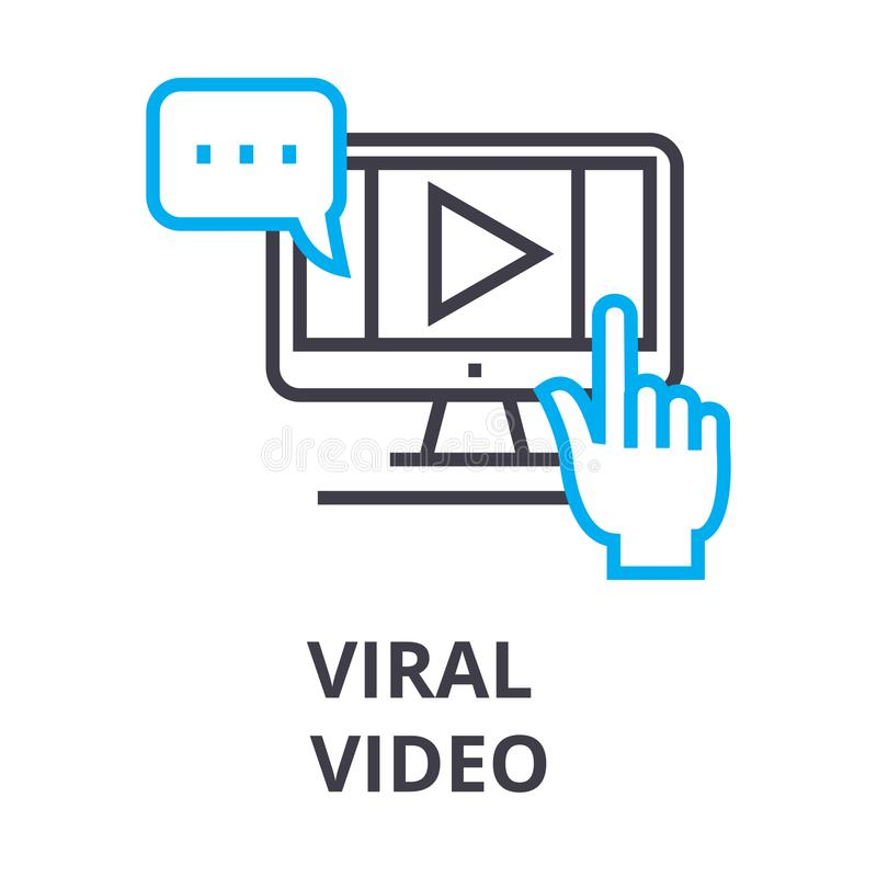 Virus- video tunn linje symbol, tecken, symbol, illustation, linjärt begrepp, vektor stock illustrationer