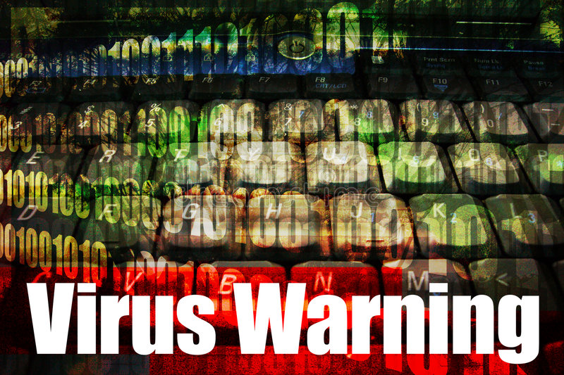 Virus Warning on a Technology Background stock photo