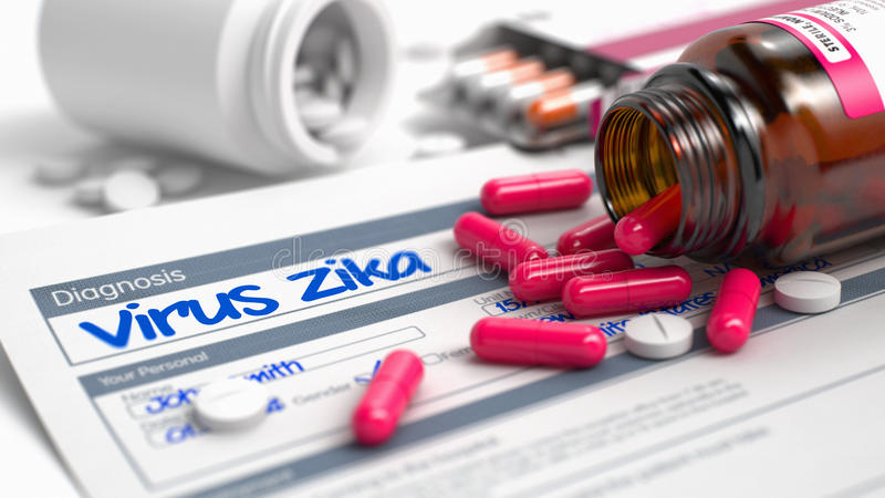 Virus Zika - Inscription in Disease Extract. 3D. Virus Zika - Handwritten Diagnosis in the Anamnesis. Medicine Concept with Heap of Pills, CloseUp View stock illustration