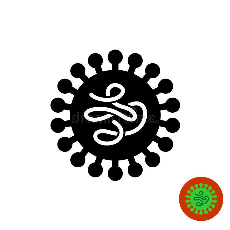 Virus zwart pictogram met binnen worm zoals structuur royalty-vrije illustratie