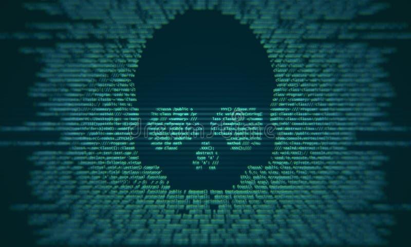 Virusaanval en misdadig concept stock illustratie