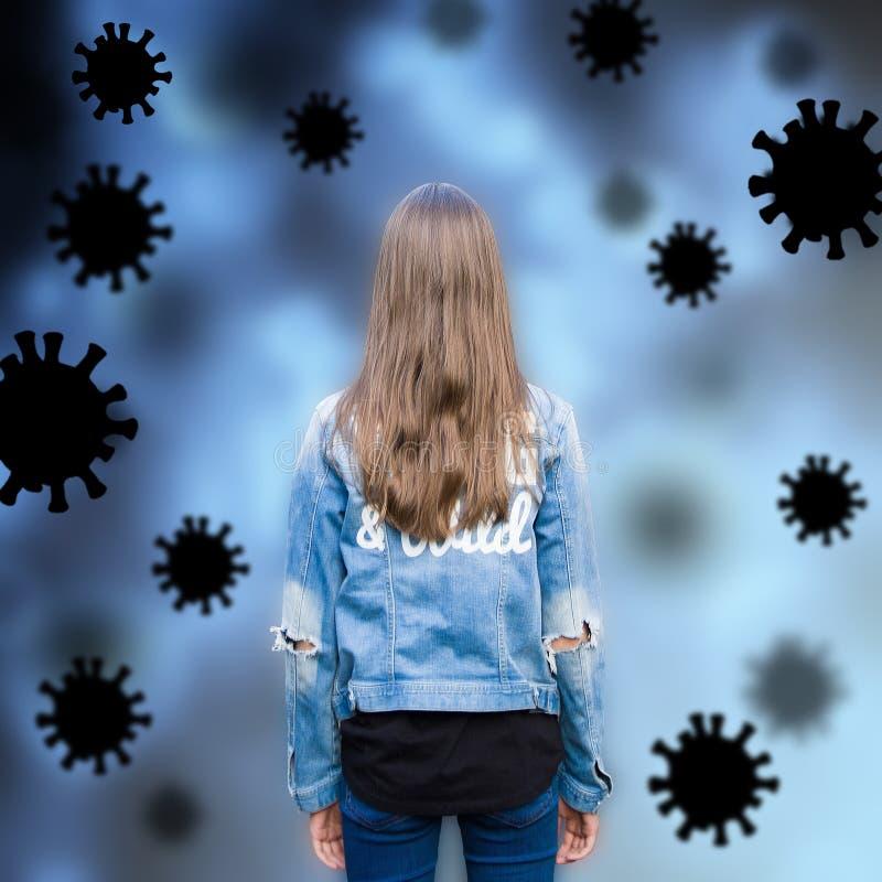 Virusbakgrund med flickor och handdragna Coronavirus 2019-nCoV-celler arkivbild
