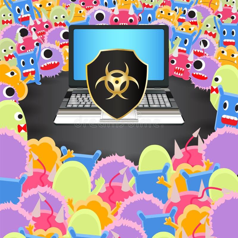 Viruscomputerbelagerung eine Laptop-Computer mit Virenschutz lizenzfreie abbildung