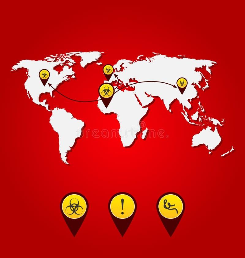 VirusEbola utbrott, världskarta av fördelning med bio farasig stock illustrationer
