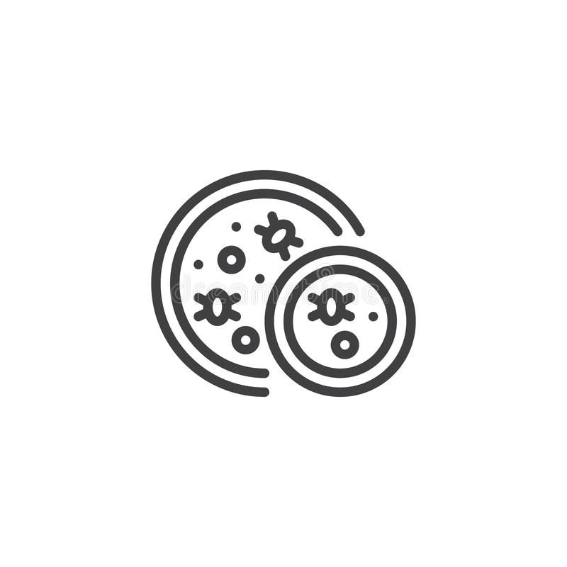 Viruses and bacteria in a petri dish outline icon stock illustration