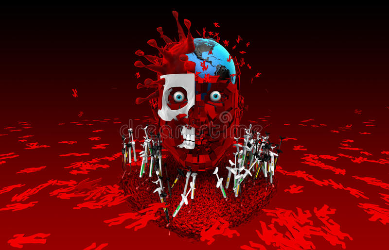 Viruses kill humanity. Get vaccinated. Fight against the virus. royalty free illustration