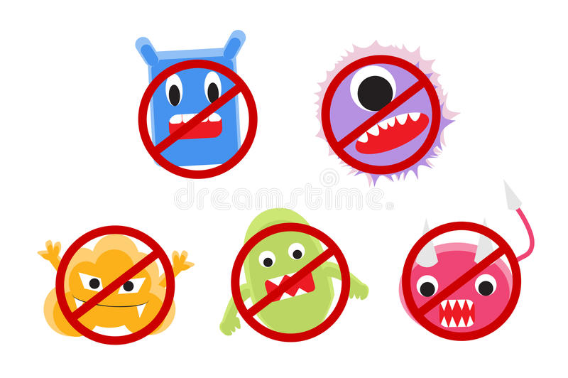 Viruskarikatur mit Verbotkreisvektor lizenzfreie abbildung