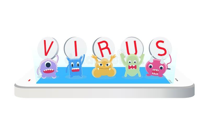Viruszeichentrickfilm-figur auf einem Smartphone vektor abbildung