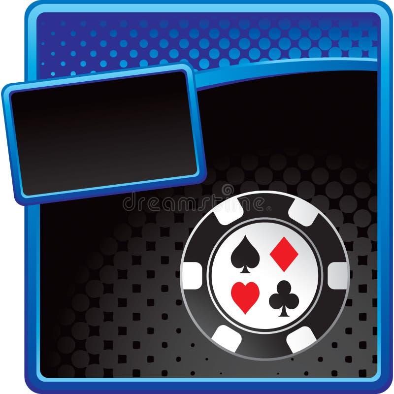 Viruta del casino en modelo de semitono azul y negro ilustración del vector