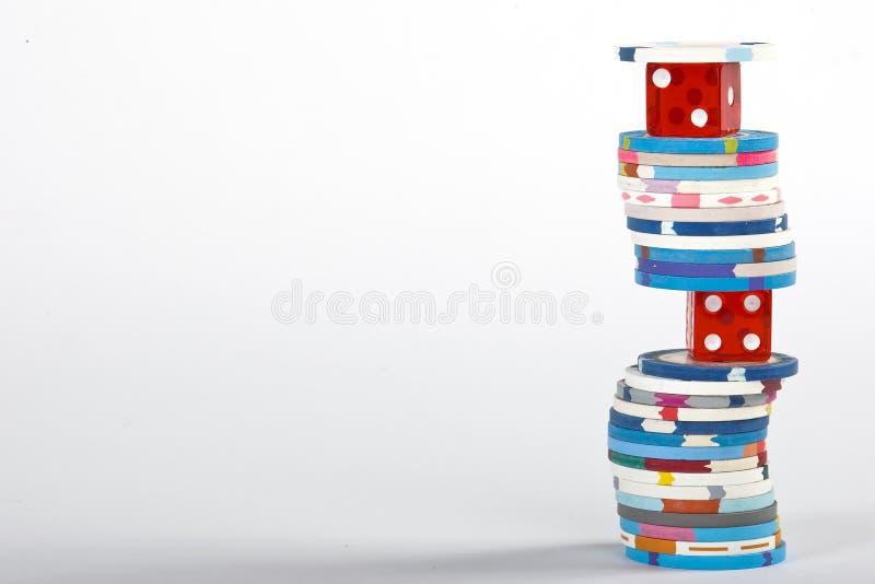 Virutas de los dados y del casino imagen de archivo libre de regalías